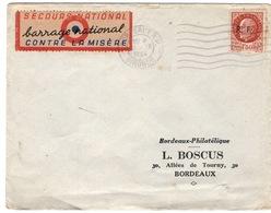 """Bordeaux  1944  TP Pétain Libération  """"secours National Barrage National Contre La Misère"""" - Postmark Collection (Covers)"""