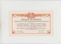 BANQUE DE FRANCE - VERSEMENT D'OR POUR LA DEFENSE NATIONALE - 1915 - Shareholdings
