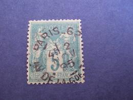 "1876-sage II, Timbre Oblitéré N°  75      "" 5c Vert  ""    Cote  1 Net    0.30 - 1876-1898 Sage (Type II)"