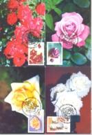 FLOWERS, ROSES, CM, MAXICARD, CARTES MAXIMUM, 4X, 2005, ROMANIA - Roses