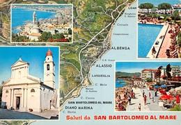 Cartolina San Bartolomeo Al Mare 4 Vedute Con Mappa - Imperia