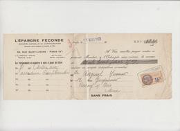 LETTRE DE CHANGE - L'EPARGNE FECONDE - 1933 - TIMBRE FISCAL 15 C - Bank & Insurance