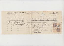 LETTRE DE CHANGE - L'EPARGNE FECONDE - 1931 - TIMBRE FISCAL 10 C Et 5 C - Bank & Insurance