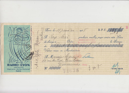 LETTRE DE CHANGE -  RADIO - LYON  N° 7238 - ANNEE 1938 - Bank & Insurance