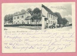 """67 - GRUSS Aus KIRCHHEIM - Gare - Bahnhof -  """"Hotel Zum Grünen Baum """" - Joseph WOHLFROM - 3 Scans - France"""