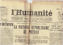 L'HUMANITE ( Parti Communiste ) Guerre D'Espagne Du 26 Juillet 1936 - Journaux - Quotidiens