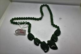 Collana Di Giada Naturale (serpentino New Jade) Lucidata A Mano. Peso Totale 44 Gr. - Art Oriental
