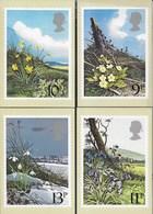 INGHILTERRA - BRITISH FLOWER - 1979 -SERIE COMPLETA  4 CARTOLINE  - EDIT. HOUSE OF QUESTA - NUOVE - Francobolli (rappresentazioni)
