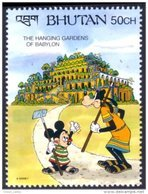 192 Bhutan Disney Babylon Babylone Jardins Gardens Mickey Dingo Goofy MNH ** Neuf SC (BHU-45d) - Archaeology