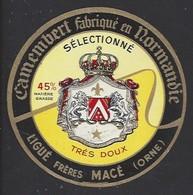 Etiquette De Fromage  Camembert  -  Sélectionné Très Doux   -  Ligué Frères à  Macé  (61) - Quesos