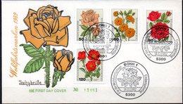 Enveloppe - Cachet 1er Jour 14/10/1982 à BONN (Allemagne) Série De Roses N° 982à 985 - Roses