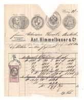 Teil Einer Rechnung Aus 1877 Mit Aufgeklebter Stempelmarke Und Briefmarke - Austria