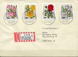 Enveloppe En Recommandé De Neustadt (Allemagne Berlin ) Série De Roses N°641 à 644 - Rosen