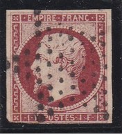 NAPOLEON III - 1 Fr Carmin - 1853 - N° Y&T : 18 Obl: Etoile De Paris Muette - 1853-1860 Napoléon III