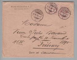 "Schweiz 1895-10-30 Serrières Brief Mit Perfin ""PS"" #P016 Russ-Suchard & Cie - 1882-1906 Armarios, Helvetia De Pie & UPU"