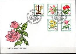 Enveloppe Cachet PJ 25/11/82  (BERN Suisse ) Série Pro Juvente  N°1165/1169 - Roses