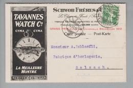 "Motiv Uhren 1911-06-14 Chaux-de-Fonds Perfin Auf Illustr. Postkarte #S035 ""SF"" Nach Selzach - Horlogerie"
