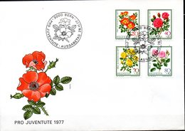 Enveloppe Cachet PJ 28/11/77  (BERN Suisse ) Série Pro Juvente  N°1042 à 1045 - Roses