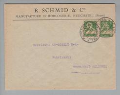 """Schweiz 1921-12-22 Neuchatel Perfin Auf Brief #R018 """"R.S&Co."""" R.Schmid & Cie - Suisse"""