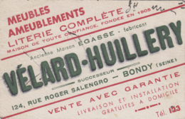 Vieux-Papiers - Buvards - Buvard Maison Vélard-Huillery Fabricant Meubles 124 Rue Salengro Bondy 93 - Papel Secante