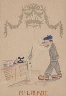 Vieux-Papiers - Menus - Menu Dessiné Et Peint - Humour - Téléphone Araignée - Vin 1941 1943 - Menus