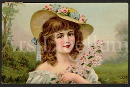 Postkaart / CPA / Postcard / 2 Scans / Fille / Girl / Flowers / Fleurs / 1908 - Dessins D'enfants