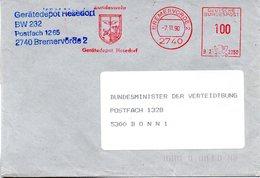 """(FC-11) BRD AFS """"BUNDESWEHR Gerätedepot Hesedorf"""" DEUTSCHE BUNDESPOST 100(Pf)  7.11.1990 BREMERVÖRDE 1 - Poststempel - Freistempel"""