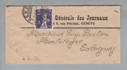Schweiz 1915-04-07 Genève Streifband Mit Perfin # A020 - Suisse
