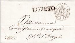 LORETO. Lettre Préphilatélique 1860. Traslazione Della Santa Casa. N.D. De Lorette - Italia