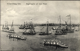 Cp Köln Am Rhein, Kinderhilfstag, Segelregatta Auf Dem Rhein, Schiffe - Allemagne