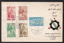 SYRIE - SYRIA - DAMASCUS FAIR - FOIRE DE DAMAS / 1-9-1957 SERIE COMPLETE SUR ENVELOPPE FDC (ref LE2683) - Syria