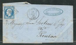 FRANCE 1860 N° 14 S/Lettre Obl.PC 3388 Tourcoing - 1853-1860 Napoleone III