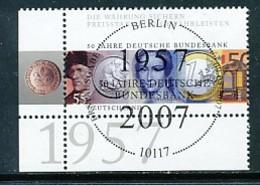 GERMANY Mi.Nr. 2618 50 Jahre Deutsche Bundesbank - ESST Berlin - Eckrand Unten Links - Used - Gebraucht