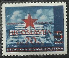 YUGOSLAVIA LOCAL OVERPRINTED OF HRVATSKA CROATIA CROAZIA SOPRASTAMPA LOCALE 1945 ZEMUN 20 On 5k MNH - Nuovi