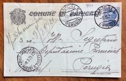 COMUNE DI PANICALE  GEOM. RENATO CESARINI  CARTOLINA PUBBLICITARIA AUTOGRAFA  1921 - Historical Documents