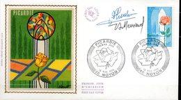 Cachet PJ 15-11-1975 à NOYON (60)- Picardie  (Rose ) N° 1847 - Roses