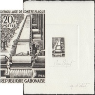 Gabon 1966 Y&T 196. Épreuve D'artiste. Déroulage Du Contre-plaqué. Arbres Et Bois - Trees
