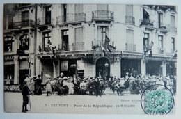 CPA BELFORT 90 PLACE DE LA REPUBLIQUE CAFE GLACIER 7 - TRES BEAU PLAN TRES ANIME - Belfort - Stadt