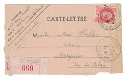1941 - PETAIN 3F ORANGE SUEL Sur CARTE-LETTRE RECOMMANDÉE De BETHUNE PAS DE CALAIS Pour MARQUISE - Postmark Collection (Covers)