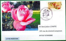Cachet Baptème De La Rose (Ma Normandie)  De VEULES LES ROSES (76)  Du 20.06.2009 -Affr. Adhésif N° 262 - Roses