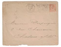 1901 - OBLITERATION MECANIQUE OMEC DRAPEAU De PARIS DEPART Sur LETTRE AFFRANCHIE MOUCHON Pour CHALONS - 1877-1920: Période Semi Moderne