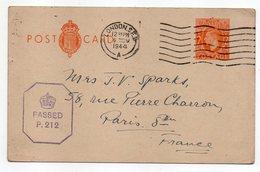 Grande-Bretagne--1944--entier Carte Postale Censurée PASSED  P.212 De Londres Pour PARIS (France) - Interi Postali
