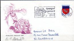 Floralies Orléans 1967  Illustration Orchidée Et Rose Dessin De C. Herten. Adhésif N° 262 - Roses