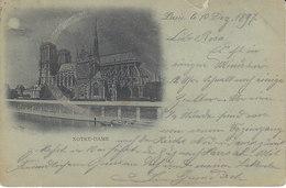 Notre-Dame,carte Postale Envoyée En Suisse En 1897,affranchie N° 75 X 2,    2 Scans - Poststempel (Briefe)