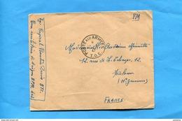 """Marcophilie-guerre INDOCHINE -lettre F M --""""cad Poste Aux Armées T O E- 1947-BMP 402 Saïgon Pour Françe - Marcophilie (Lettres)"""