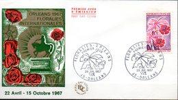 Floralies Orléans 1967  Illustration  Roses Dessin De Mariscachi -PJ Du 29.07.67 ORLEANS  -TP Orchidées  N° 1528 - Orchids
