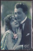 ANTIQUE, POSTCARD, LOVE, COUPLE, SCENE, ROMANTIC, LANDSCAPE, FLOWERS, CIRCULATED POSTCARD 1924 - Couples