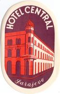 Luggage Label Hotel CENTRAL Sarajevo Bosnia Yugoslavia - Hotel Labels