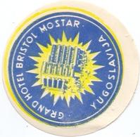 Luggage Label Hotel GRAND BRISTOL Mostar Bosnia Yugoslavia - Etiketten Van Hotels