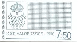 SWEDEN, 1973, Booklet 265 (Facit), Mi 779,  Gustav VI Adolf, 75 öre - 1951-80
